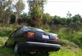 Abandonan auto accidentado en la México- Querétaro